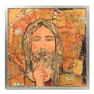 Beatriz Simón. Cristo. Firmado y fechado 10. Técnica mixta. Enmarcada. 50 x 50 cm