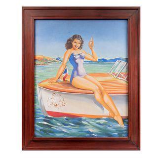 V. Posada. Chica pin up con refresco. Firmado. Óleo sobre tela. Enmarcado. 98 x 78 cm