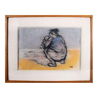 Carlos Salinas. Siglo XX. Maternidad. Firmada. Técnica mixta, punta lápiz y pastel. Enmarcada. 30 x 43 cm