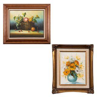 Lote de 2 obras pictóricas. Consta de: Maria. Bodegón con canasta y peras. Firmado. Óleo sobre fibracel. Enmarcado, otro.