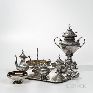Eight-piece Russian .875 Silver Tea and Coffee Service, Moscow, c. 1868, Pavel Ovchinnikov, maker, Viktor Savinkov, assayer, monogramme