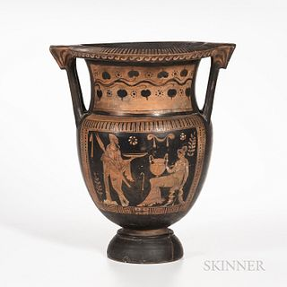 Ancient Apulian Red-figured Column Krater, c. 380 B.C., the groom painted as a warrior and his bride holding an amphora, with two young