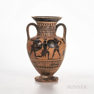 Ancient Attic Black-figure Squat Amphora, c. 500-480 B.C., with a scene showing Hercules engaged in combat with three warriors to one s