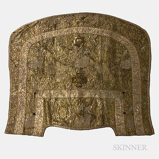 Gold and Silver Embroidered Cape, Europe, 18th/19th century, featuring a densely embroidered rendering of various floral forms in a var