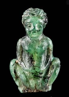 Miniature Egyptian Ptolemaic Greenstone Amulet of Baubo