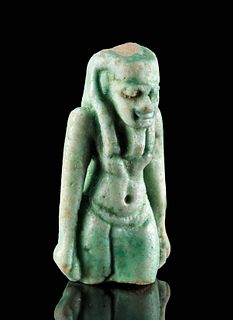 Egyptian Glazed Faience Striding Goddess