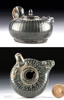 Campanian Lustrous Blackware Guttus Lion Head Spout