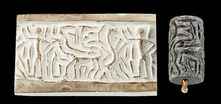 Syrian Stone Stamp Seal Bead w/ Figure & Beasts