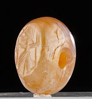 Sasanian Banded Agate Stamp Seal Bead w/ Gayomard