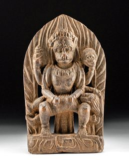 Late 18th C. Nepalese Wood Relief w/ Narasimha