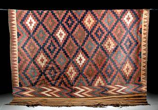 19th C. Kilim Wool Rug w/ Traditional Motifs