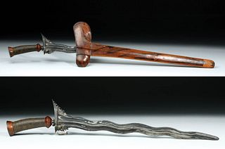 19th C. Fine Old Indonesian Kris - Wood, Leather, Iron