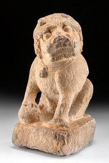 "Chinese Qing Dynasty Stone Fu Lion - ""Foo Dog"""