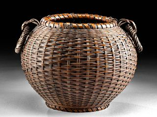20th C. Japanese Bamboo Woven Takeami Basket