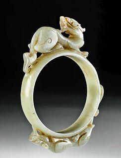 19th C. Chinese Jade Bracelet w/ Dragons