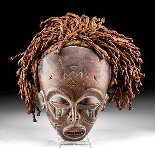 Early 20th C. African Chokwe Wooden Mwana Pwo Mask