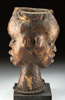 Early 20th C. Nigerian Ekoi Hide Janiform Headdress