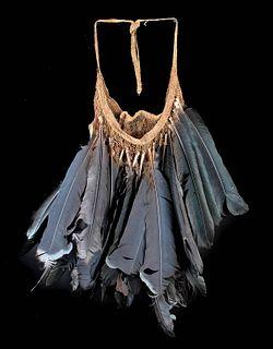 20th C. Papua New Guinea Bilum Bag & Cassowary Feathers