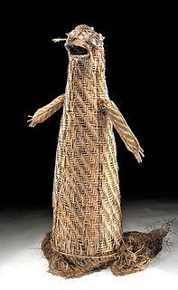 Early 20th C. Papua New Guinea Fiber Dance Mask