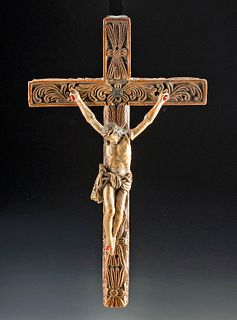 18th C. Bolivian Wood Crucifix - Palo Naranja