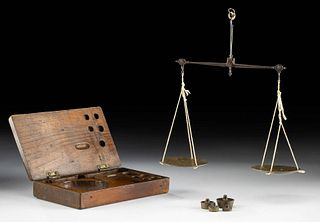 19th C. Spanish Brass Scale w/ Weights, Wood Case