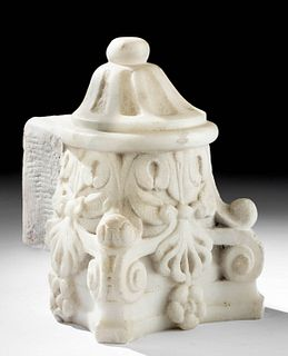 19th C. European  Neo-Gothic Marble Column Cap