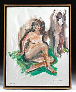 Signed 1960s William Draper Painting - Female Nudes