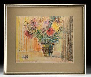 Signed 1967 Floral Still Life Watercolor L. Hutsaliuk