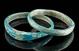 Lot of 2 Petite Roman Glass Turquoise Bracelets