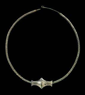 Thracian Bronze Torq Necklace w/ Bronze Spool Bead