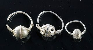 Lovely Group of Byzantine Silver Earrings (3)