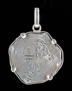 Spanish Philip II 8 Reales Silver Coin Pendant