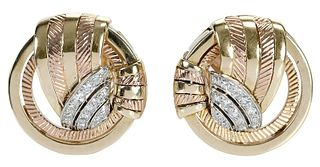 Retro Platinum, 14kt. and Diamond Earrings