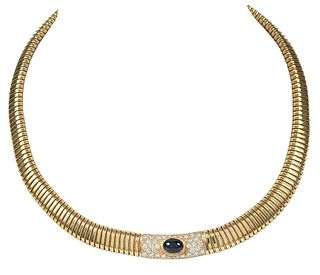 14kt. Sapphire and Diamond Tubogas Necklace