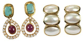 Two Pairs Pearl Earrings
