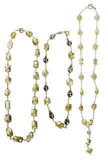 Three Gold Gemstone Necklaces
