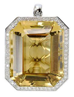 14kt. Citrine and Diamond Pendant