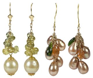 Two Pairs Gold, Pearl and Gemstone Earrings