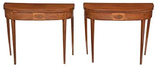 Pair American Federal Demilune Card Tables
