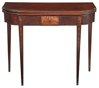 Unusual American Federal Inlaid Mahogany Card Table