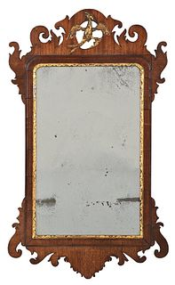 Chippendale Walnut Parcel Gilt Mirror