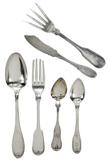 Coin/Sterling Silver Flatware, 14 Pieces