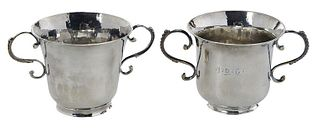 Two 18th Century English Silver Two Handled Cups