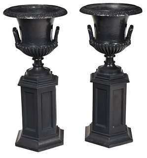 Pair Classical Style Cast Iron Garden Urns