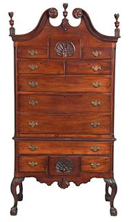 Chippendale Style Carved Mahogany High Chest