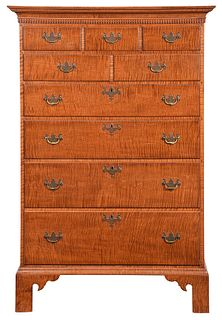 American Chippendale Style Tiger Maple Tall Chest