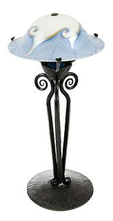 Blue Quezal Art Glass Shade, Bronze Table Lamp