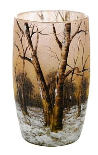 Small Daum Nancy Winter Scene Vase