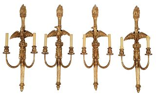 Four Federal Style Gilt Eagle Two Arm Sconces