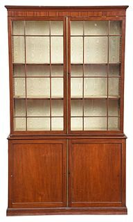 George III Figured Mahogany Bookcase Cabinet